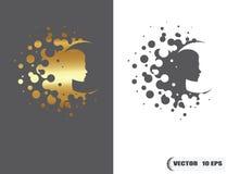 Vector логотип красоты, золотая форма и однокрасочное одно Аннотация Стоковые Фотографии RF