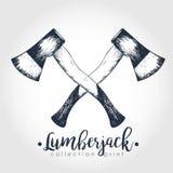 Vector логотип нарисованный рукой 2 пересеченных осей Собрание печати Lumberjack Искусство выгравированное годом сбора винограда Стоковая Фотография