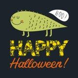 Vector открытка хеллоуина с милым зеленым извергом Стоковое фото RF