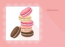Vector очень вкусная карточка macaroons для меню, приглашения, партии, Стоковая Фотография