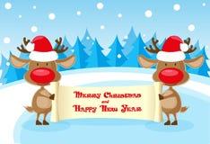 Vector олени знамени 2 смешные в шляпе Санта Клауса на катке с с Рождеством Христовым переченем на голубой предпосылке иллюстрация штока