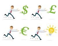 Vector пакет бизнесмена гоня деньги и идеи иллюстрация вектора