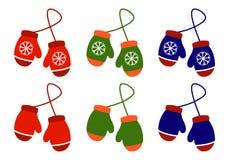 Vector пары иллюстрации связанных mittens рождества на белой предпосылке Значок Mitten Поздравительная открытка рождества с бесплатная иллюстрация