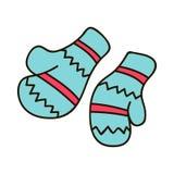 Vector пары иллюстрации связанных mittens рождества на зеленой предпосылке Значок Mitten Поздравительная открытка рождества с mit иллюстрация штока