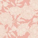 Vector пастельная безшовная картина цветков paeony на розовой предпосылке Зацветая пион с открытым и закрытым бутоном Стоковое Изображение