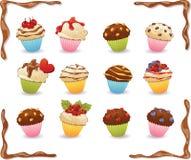 Vector пирожные с карамелькой, обломоки шоколада, ягоды Chocolat Стоковые Фото
