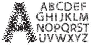 Vector письма алфавита сделанные от следов танка и трактора Стоковые Изображения RF