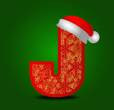 Vector письмо j алфавита с снежинками шляпы и золота рождества стоковая фотография rf