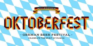 Vector плакат для литерности Oktoberfest сделанной с лентой ленты немецких цветов флага Стоковое Фото