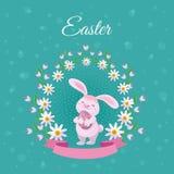 Vector плакат пасхи с кроликом с цветками яичек бесплатная иллюстрация