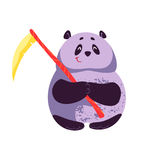Vector плоская иллюстрация шаржа характера панды хеллоуина стоять милого тучного усмехаясь с косой Стоковая Фотография