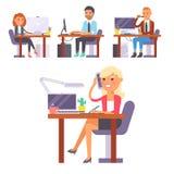 Vector плоская персона работника дела места работы людей работая на компьтер-книжке на таблице в коммерсантке сотрудника офиса и стоковое изображение