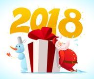 Vector плоская с Рождеством Христовым иллюстрация с снеговиком, большой подарочной коробкой с красным смычком и Санта Клаусом на  Стоковые Изображения RF