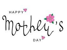 Vector поздравительная открытка с днем ` s матери Черная каллиграфия надпись с розовыми цветками Стоковое Фото