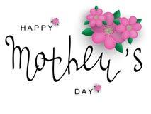 Vector поздравительная открытка с днем ` s матери Черная каллиграфия надпись с розовыми цветками Стоковые Фото