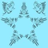Vector поздравительная открытка с птицами и звездой с вашим текстом иллюстрация вектора