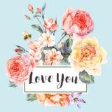 Vector поздравительная открытка весны винтажная флористическая с букетом роз Стоковое Изображение RF