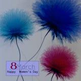 Vector поздравительная открытка дня счастливых женщин с флористическим украшенным текстом 8-ое марта иллюстрация штока