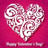 Vector поздравительная открытка сердца дня валентинки кружевная дальше Стоковые Изображения