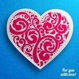 Vector поздравительная открытка сердца дня валентинки кружевная дальше Стоковое Фото