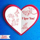 Vector поздравительная открытка сердца дня валентинки кружевная дальше Стоковые Фото