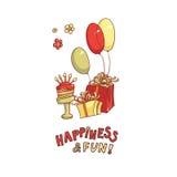 Vector поздравление карточки подарочных коробок, торта с свечами, воздушных шаров и желаний литерности на белой предпосылке Стоковая Фотография RF