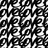 Vector покрашенная вручную безшовная картина с литерностью влюбленности чернил абстрактная предпосылка Стоковые Изображения