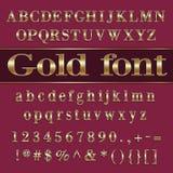 Vector покрытые золотом письма и числа алфавита дальше Стоковое Изображение RF