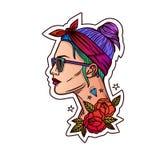 Vector портрет девушки в стиле битника Татуируйте сторону девушки Иллюстрация вектора