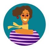 Vector портрет усмехаясь женщины в круге бесплатная иллюстрация