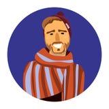 Vector портрет усмехаясь человека в шарфе в круге иллюстрация штока