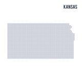 Vector поставленное точки положение карты Канзаса изолировал на белой предпосылке Стоковое Изображение