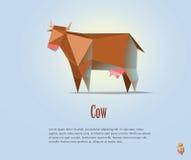 Vector полигональная иллюстрация красной коровы с молоком Стоковое Фото