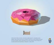 Vector полигональная иллюстрация донута с розовой сливк на верхней части, современном дизайне значка еды Стоковая Фотография