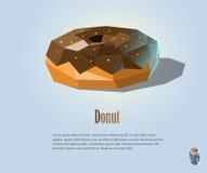 Vector полигональная иллюстрация донута с шоколадом на верхней части, современном дизайне значка еды Стоковая Фотография