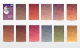Vector полигональный комплект плаката, рогульки, шаблонов дизайна брошюры Стоковое Изображение