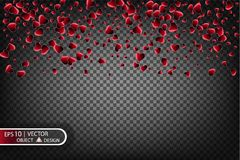 Vector праздничная иллюстрация падая сияющих красных сердец на прозрачной предпосылке Confetti для сообщений влюбленности Стоковые Изображения