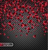 Vector праздничная иллюстрация падая сияющих красных сердец на прозрачной предпосылке Confetti для сообщений влюбленности Стоковая Фотография RF