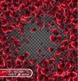 Vector праздничная иллюстрация падая сияющих красных сердец на прозрачной предпосылке Confetti для сообщений влюбленности Стоковое Фото