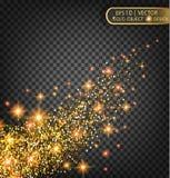 Vector праздничная иллюстрация падая сияющих частиц и звезд на прозрачной предпосылке Стоковая Фотография RF