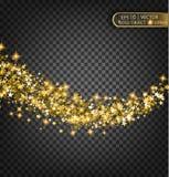 Vector праздничная иллюстрация падая сияющих частиц и звезд на прозрачной предпосылке Стоковое Изображение