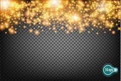 Vector праздничная иллюстрация падая сияющих частиц и звезд на прозрачной предпосылке Золотые яркие блески Confetti Курорт Стоковые Изображения RF