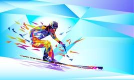Vector предпосылка иллюстрации голубая в геометрическом треугольнике XIII игр зимы стиля Олимпийский кататься на коньках скорости Стоковая Фотография