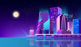 Vector предпосылка с городом ночи в неоновых светах стоковое фото