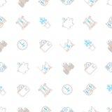 Vector предпосылка дела безшовная с знаками и символами в mono линии стиле иллюстрация вектора