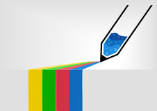 Vector предпосылка иллюстрации infographic ручки рисуя красочные линии на поверхности через край таблицы Стоковые Изображения RF
