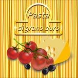 Vector предпосылка спагетти с логотипом золота, томатов вишни Стоковое фото RF