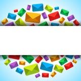 Vector предпосылка с значками электронной почты и установите для текста Стоковая Фотография RF