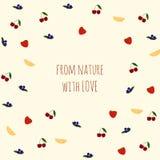 Vector предпосылка с плодоовощами и ягодами, текстом Стоковые Фото