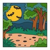 Vector предпосылка хеллоуина, ландшафт с лесом ночи Стоковые Изображения RF